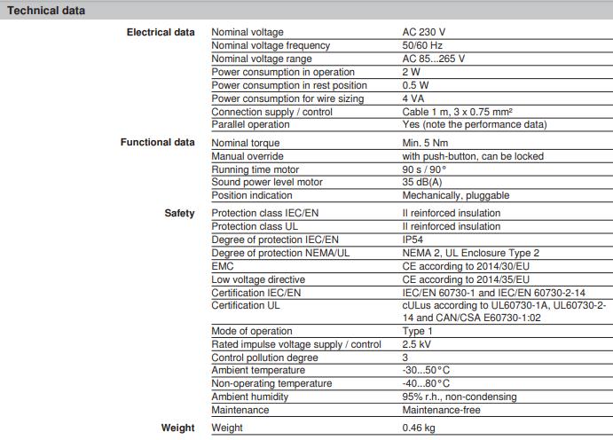 belimo lr230a specyfikacja